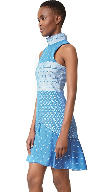 Jonathan Simkhai Bonded Lace Mock Neck Dress