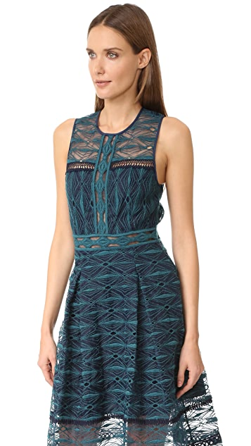 Jonathan Simkhai Mixed Embroidered Midi Dress