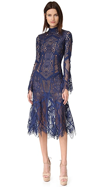 cc0101cb857f11 Jonathan Simkhai Mock Neck Lace Flare Midi Dress
