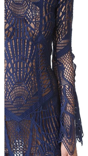 Jonathan Simkhai Mock Neck Lace Flare Midi Dress
