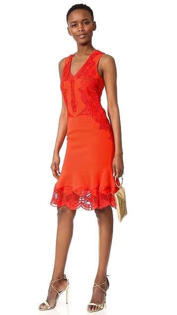 Jonathan Simkhai Lace Applique Crepe Dress