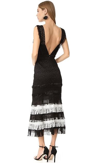 Jonathan Simkhai Silk Fringe Bandeau Cutout Gown