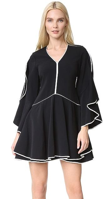 Jonathan Simkhai Classic Crepe Ruffle Sleeve Dress