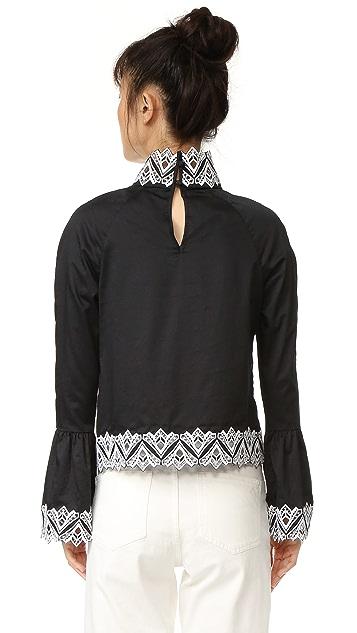 Jonathan Simkhai Embroidered Mock Neck Top