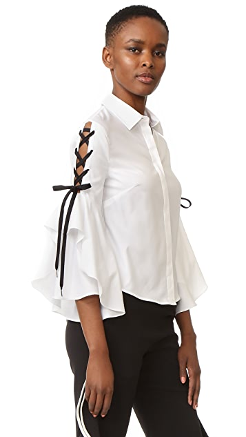 Jonathan Simkhai Lace Up Ruffle Sleeve Blouse