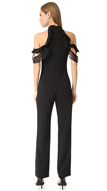 Jonathan Simkhai Lace Ruffle Cold Shoulder Jumpsuit