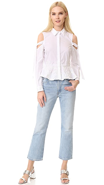 Jonathan Simkhai Panel Cording Poplin Cutout Shirt