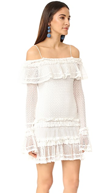 Jonathan Simkhai Ruffle Crochet Long Sleeve Mini Dress