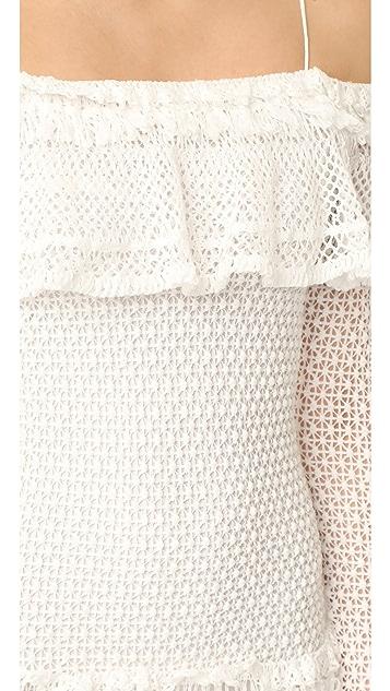 Jonathan Simkhai Ruffle Crochet Long Sleeve Mini Dress