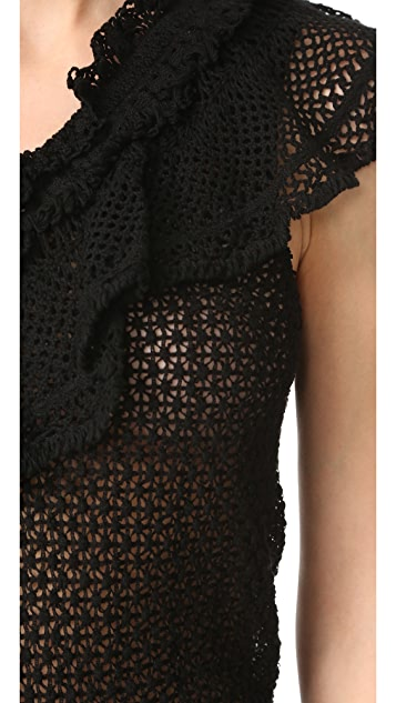 Jonathan Simkhai Ruffle Crochet Peplum Top