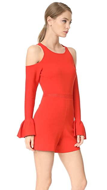 Jonathan Simkhai Signature Knit Cold Shoulder Romper