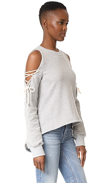 Jonathan Simkhai Lace Up Cold Shoulder Top