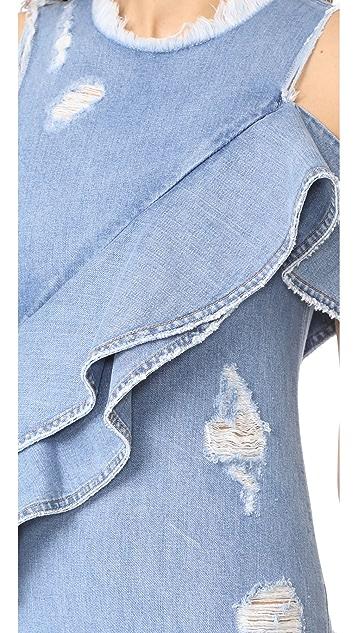 Jonathan Simkhai Asymmetrical Ruffle Denim Dress