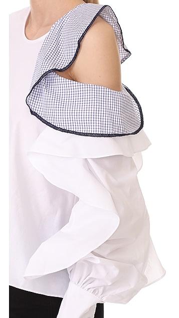 Jonathan Simkhai Graphic Trim Cold Shoulder Blouse