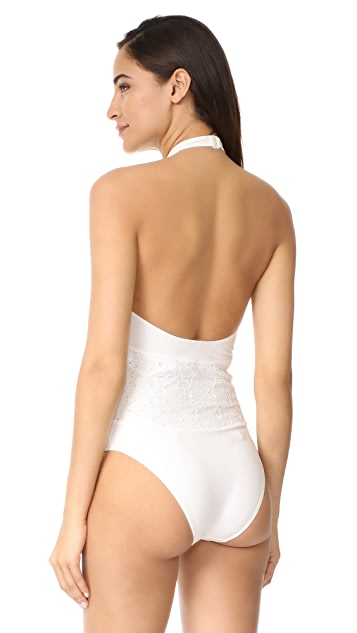 Jonathan Simkhai High Neck Lace One Piece