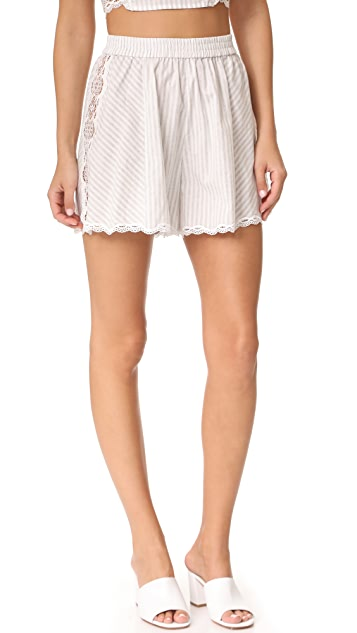 Jonathan Simkhai Trimmed Lace Flared Shorts