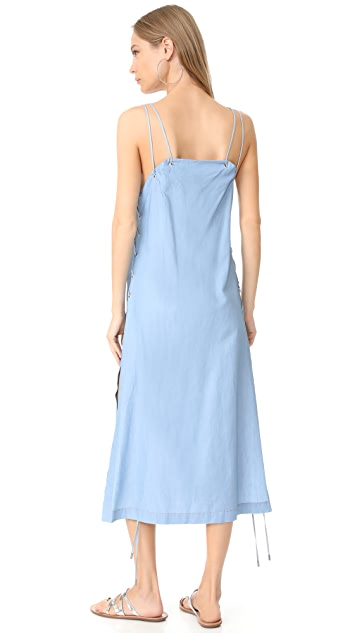 Jonathan Simkhai Chambray Lace Up Maxi Dress