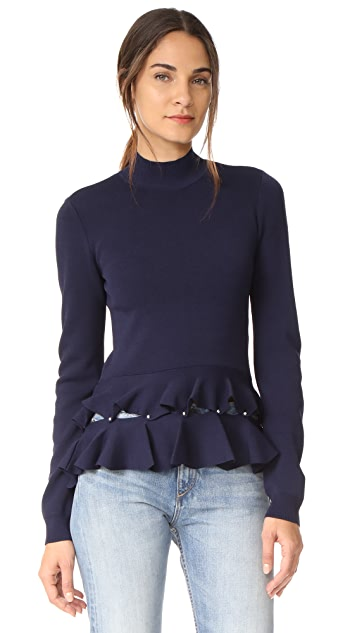 Jonathan Simkhai Slashed Ruffle Mock Neck Sweater