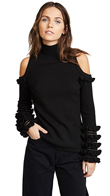 Jonathan Simkhai Crochet Ruffle Cold Shoulder Sweater