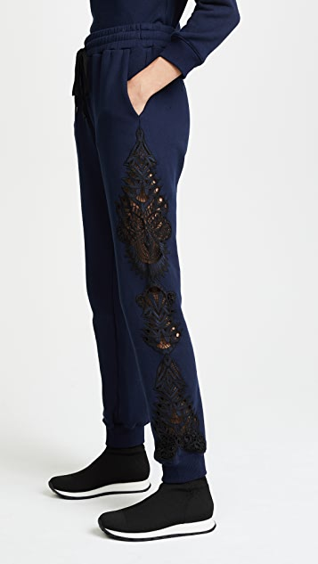 Jonathan Simkhai Lace Applique Sweatpants