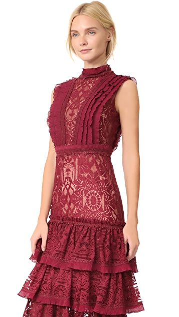 Jonathan Simkhai Tower Mesh Lace Ruffle Layered Dress