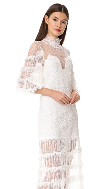 Jonathan Simkhai Thread Mesh Window Lace Long Sleeve Dress