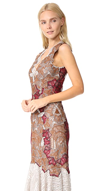 Jonathan Simkhai Dimensional Applique Lace Up Trumpet Dress