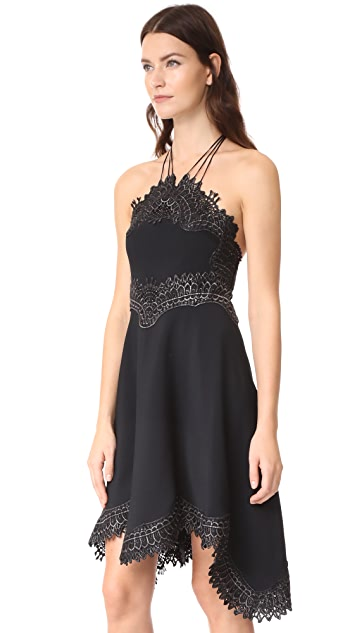 Jonathan Simkhai Metallic Embroidery Mini Halter Dress