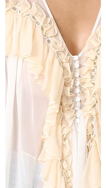 Jonathan Simkhai Grommet Ruffle Silk Blouse