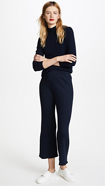 Jonathan Simkhai Applique Ruffle Knit Crop Pants