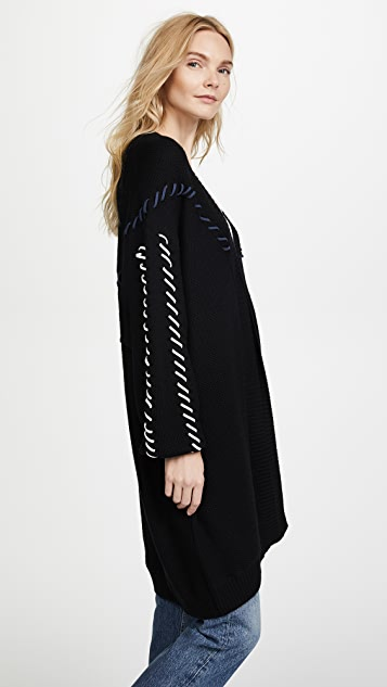 Jonathan Simkhai Stitched Cable Wool Knit Oversized Cardigan
