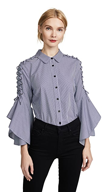 Jonathan Simkhai Whipstitch Bell Sleeve Shirt