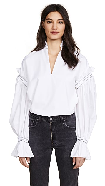 Jonathan Simkhai Rouched Cotton Peasant Top