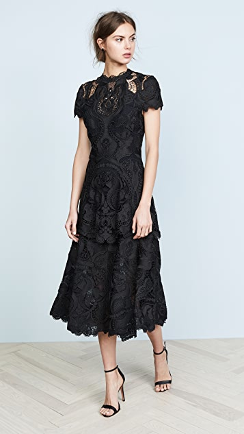 Jonathan Simkhai Crepe Applique Cap Sleeve Midi Dress