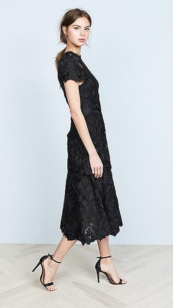 Jonathan Simkhai Crepe Applique Cap Sleeve Midi Dress