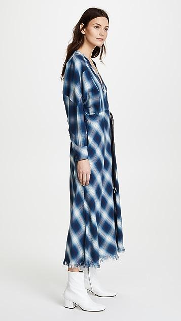 Jonathan Simkhai Washed Plaid Diamond Western Midi Dress