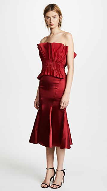 Jonathan Simkhai Structured Silk Bustier Trumpet Dress
