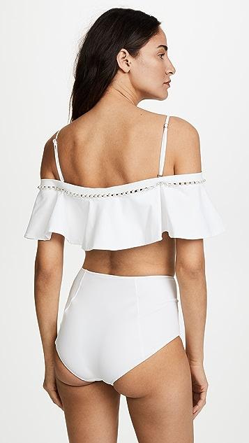 Jonathan Simkhai Studded Ruffle Bikini Top