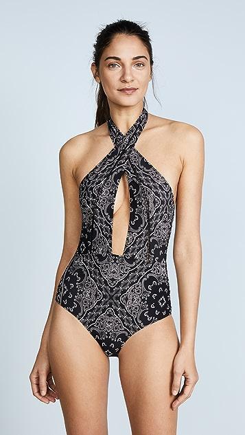 Jonathan Simkhai Bandana Print Front Cross Swimsuit - Black