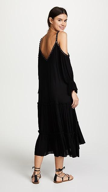 Jonathan Simkhai Crepe Studded V Neck Dress