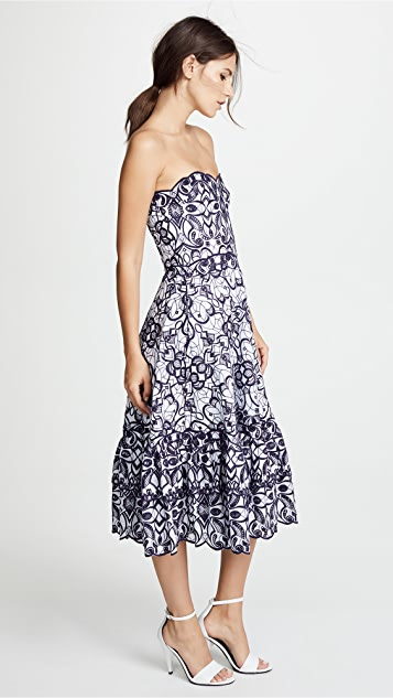Jonathan Simkhai Scallop Cutout Embroidery Bustier Midi Dress