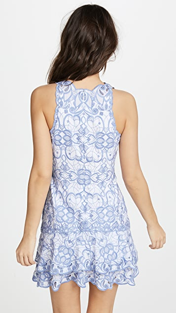 Jonathan Simkhai Scallop Cutout Embroidery V Neck Tired Mini Dress
