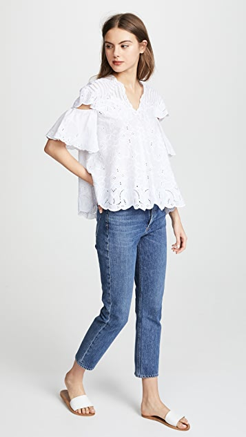 Jonathan Simkhai Scalloped Cutout Top
