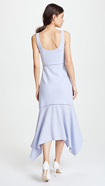 Jonathan Simkhai Seersucker Solids Handkerchief Bustier Midi Dress
