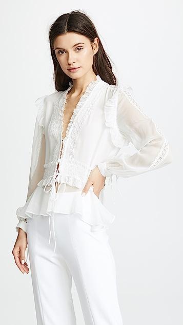 Jonathan Simkhai混搭镶边真丝长袖女式衬衫