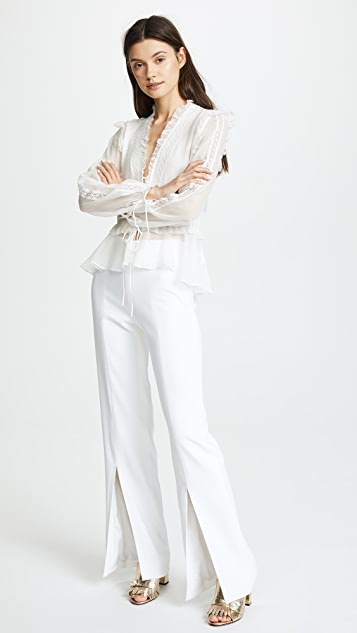 Jonathan Simkhai Mixed Trim Silk Blouse with Long Sleeves