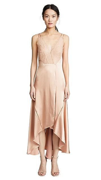 Jonathan Simkhai Mixed Trim Silk Handkerchief Dress