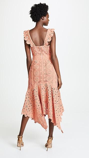 Jonathan Simkhai Macrame Ruffle Bustier Dress