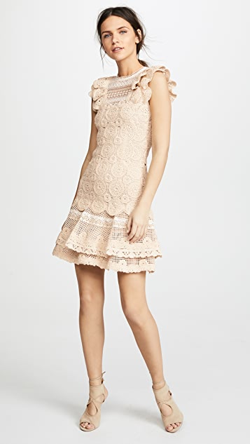 Jonathan Simkhai Macrame Ruffle Mini Dress