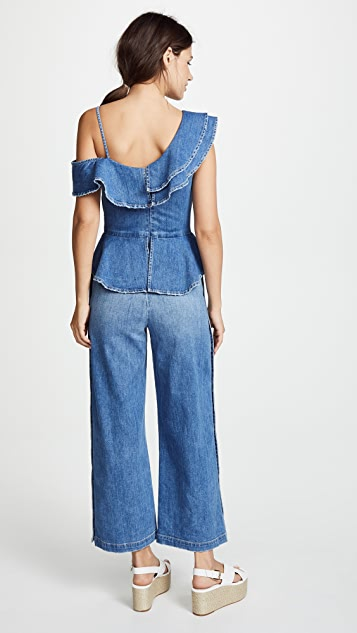 Jonathan Simkhai Classic Denim Ruffle Top Wide Leg Jumpsuit